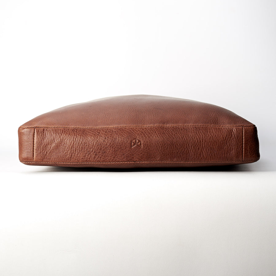 Brown Leather meditation cushion, perfect for yoga and meditation. Modern squared zafu
