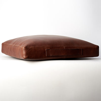 Side handler. travel meditation cushion. Leather meditation cushion, perfect for yoga and meditation. Modern squared zafu
