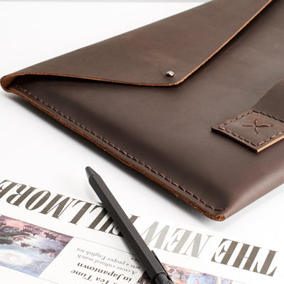 Business man case. Dark brown iPad pro 12.9 inch leather sleeve. Mens leather iPad case for mens gifts