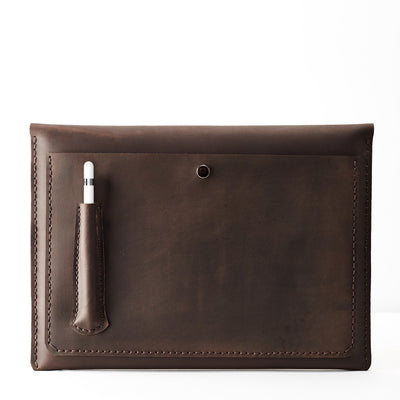Back pocket and Apple Pencil holder. Dark brown iPad pro 12.9 inch leather sleeve. Mens leather iPad case for mens gifts