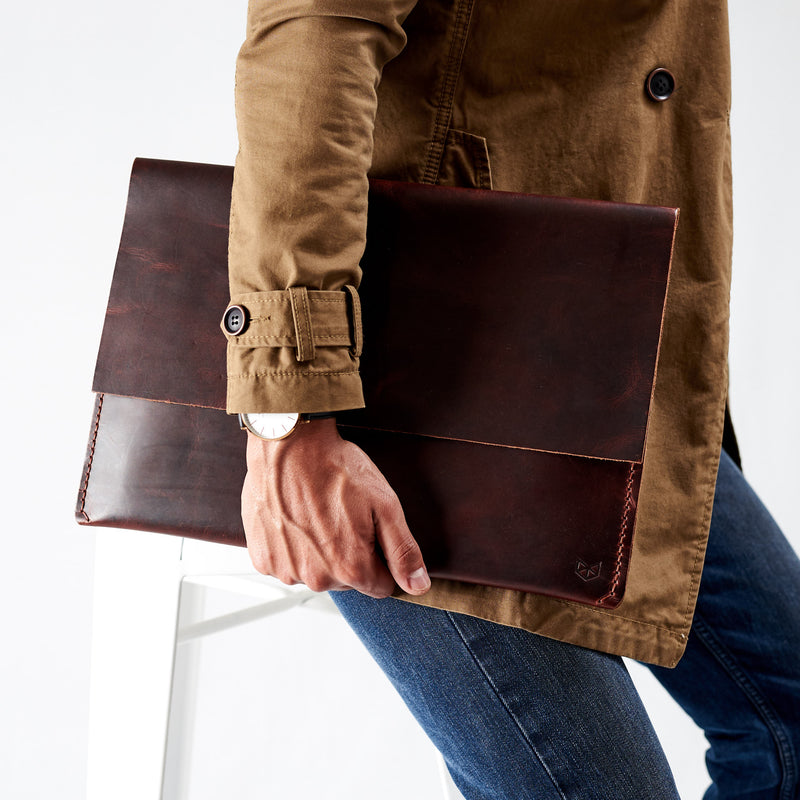 Red brown leather Macbook pro touch bar sleeve. Designer unique mens cases. Hand stitched Macbook Pro sleeve