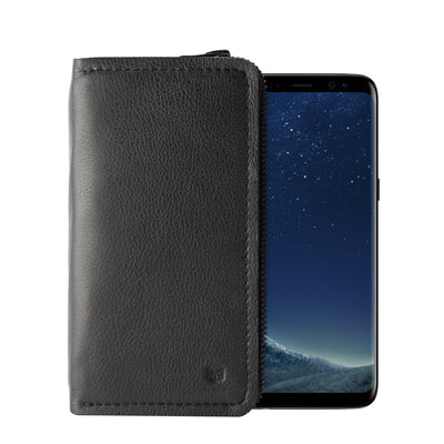Cover. Black handcrafted leather stand case for the Samsung Galaxy S8 and S8 Plus. Samsung sleeve wallet with card holder
