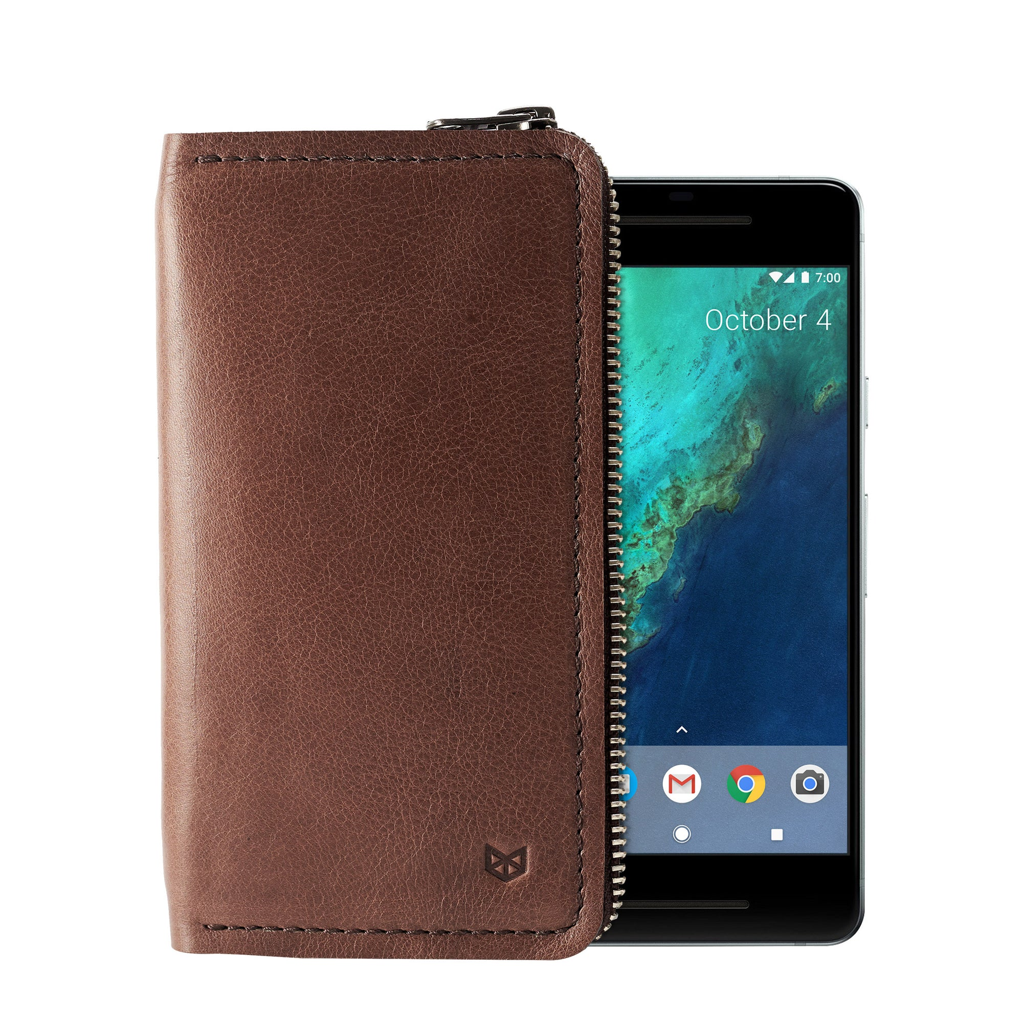 Cover. Carefully handcrafted brown leather case stand wallet for new Google Pixel 2 and 2 XL. Men's Pixel sleeve with card holder.