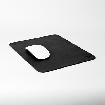 Minimalistic Black Leather Mouse Pad + Cable Organizers, Boyfriend gift, Mousepads, Personalized stationary, Custom office supplies