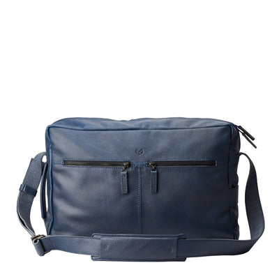 Front leather. Addox Blue shoulder messenger bag for Men by Capra Leather