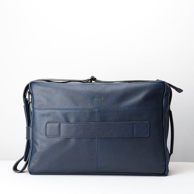 Back engraving. Addox Blue Laptop travel bag for Men by Capra Leather