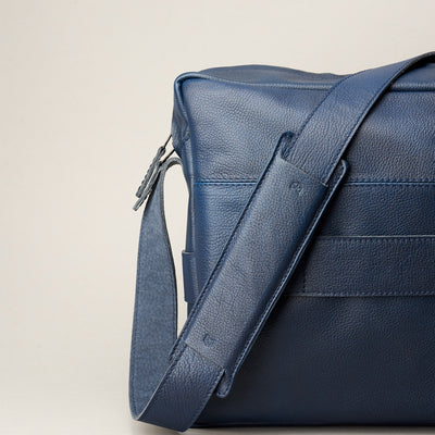 Strap detail. Addox Blue crossbody bag for Men by Capra Leather