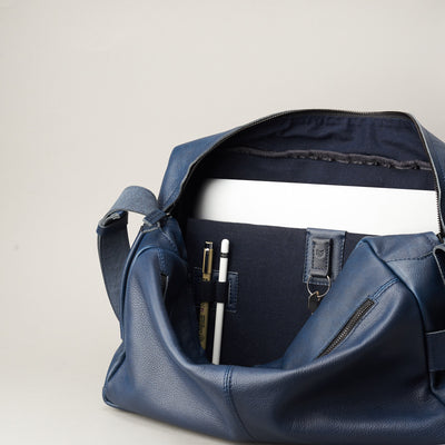 Linen Interior. Addox Blue cyclist shoulder tech bag for Men by Capra Leather