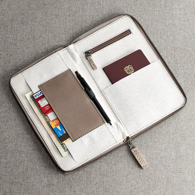 Inner compartments. Grey leather passport holder. Perfect for travelers. Gift for men. Personalized engraving. Handmade Leather wallet perfect money and card holder for trips