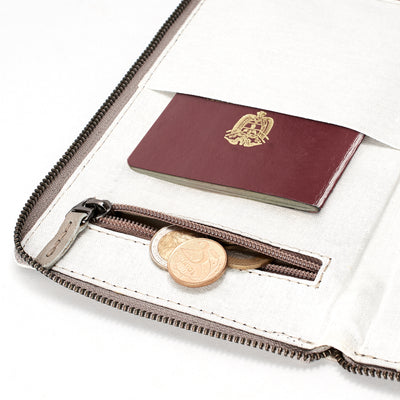 Coins pocket. Grey leather passport holder. Perfect for travelers. Gift for men. Personalized engraving. Handmade Leather wallet perfect money and card holder for trips
