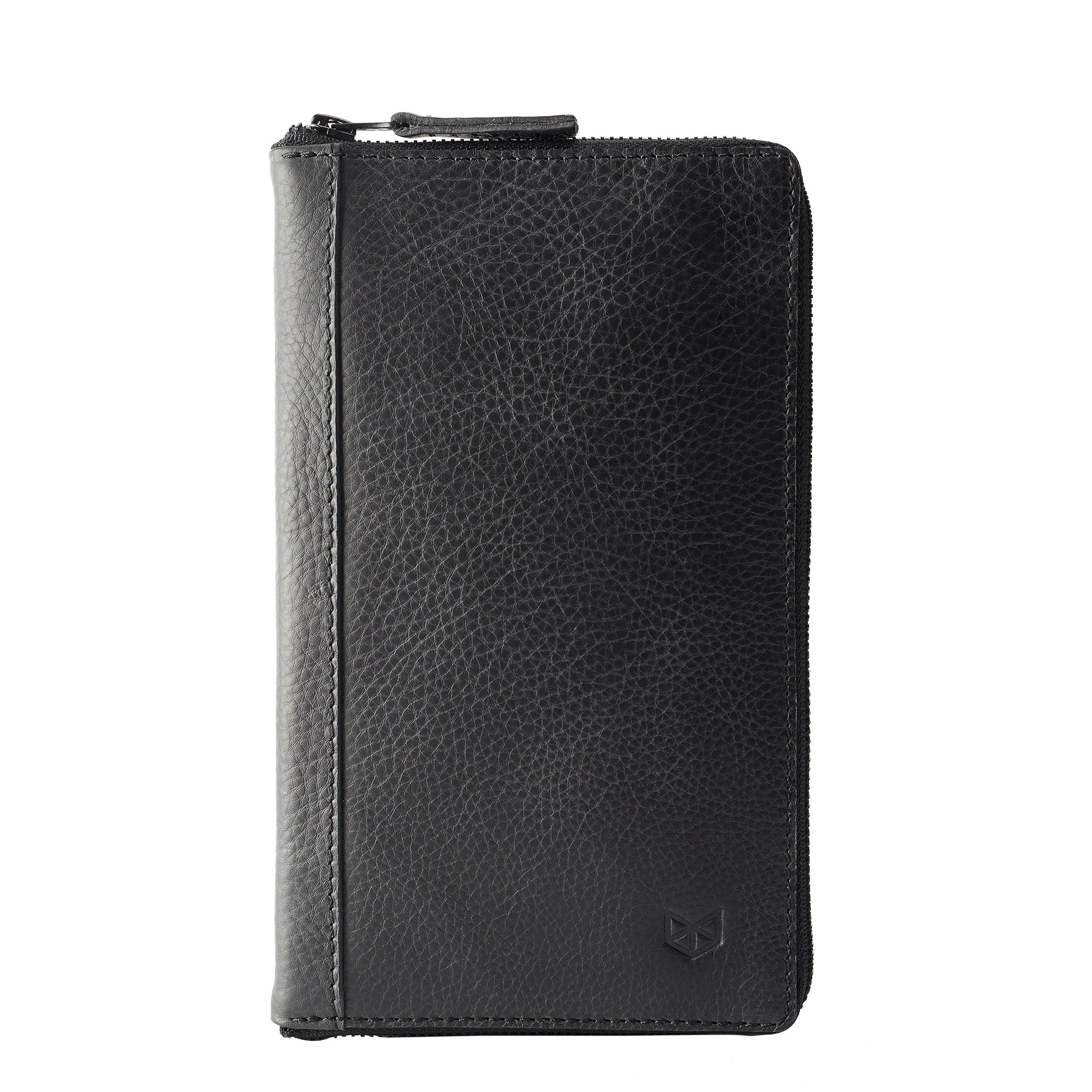 Front black leather passport wallet. Perfect for travelers. Gift for men by Capra Leather.