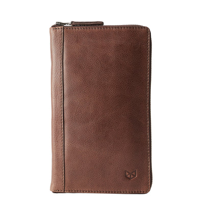Brown leather passport for travelers, gifts for men. Travel journal, document organizer holder