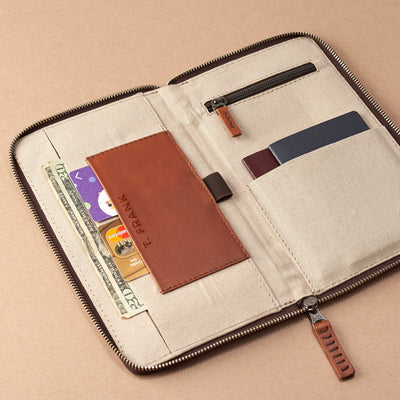 Engraving. Tan leather passport holder. Airport travel leather organizer accessories. Leather good craft by Capra Leather.
