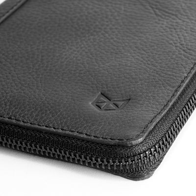 Zipper detail. Black leather passport wallet. Perfect for travelers. Gift for men by Capra Leather.