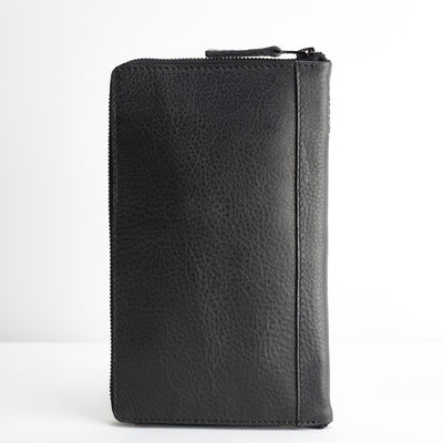 Back. Black leather passport wallet. Perfect for travelers. Gift for men, Travel Journal, Document organizer holder