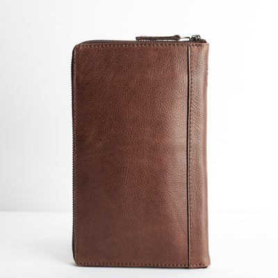 Back. Brown leather passport for travelers, gifts for men. Travel journal, document organizer holder