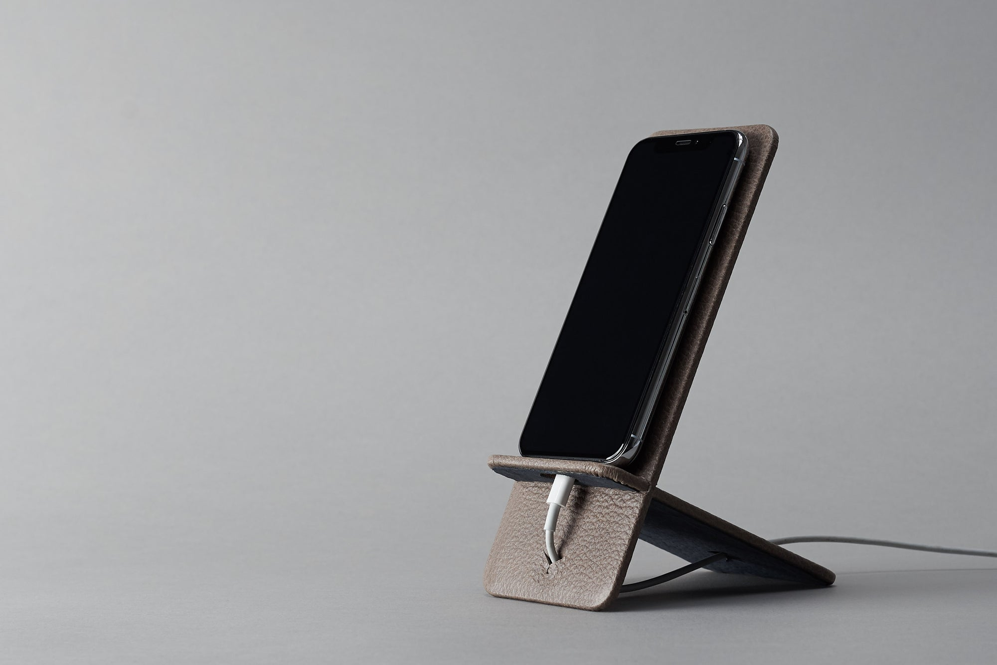 Cover. Leather Phone Stand Holder Grey by Capra Leather