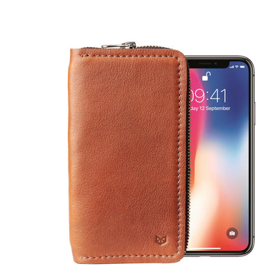 Front view. Tan iPhone leather wallet stand case for mens gifts. iPhone xs, iPhone xs Max, iPhone xr, iPhone x, iPhone 10, iPhone 8 plus leather stand sleeve. Crafted by Capra Leather.