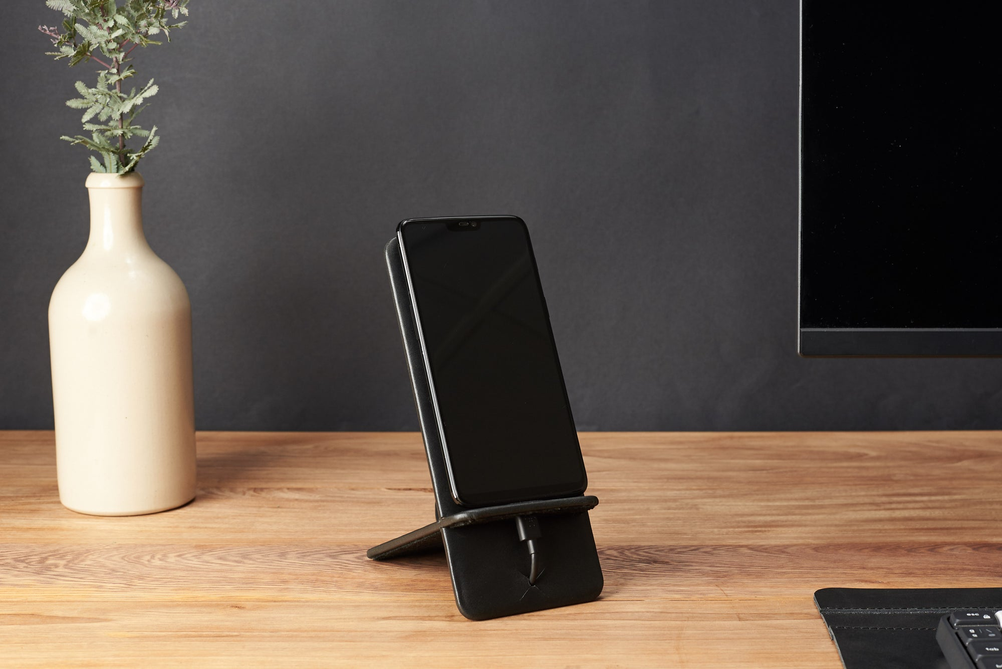 Cover. Leather Phone Stand Holder Black by Capra Leather