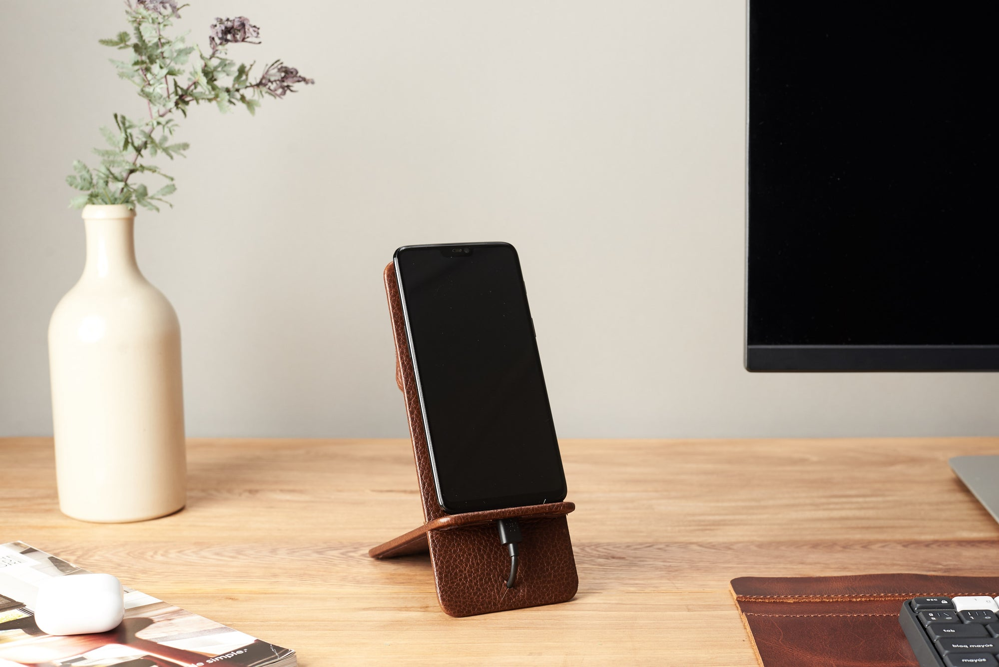 Cover. Leather Phone Stand Holder Brown by Capra Leather