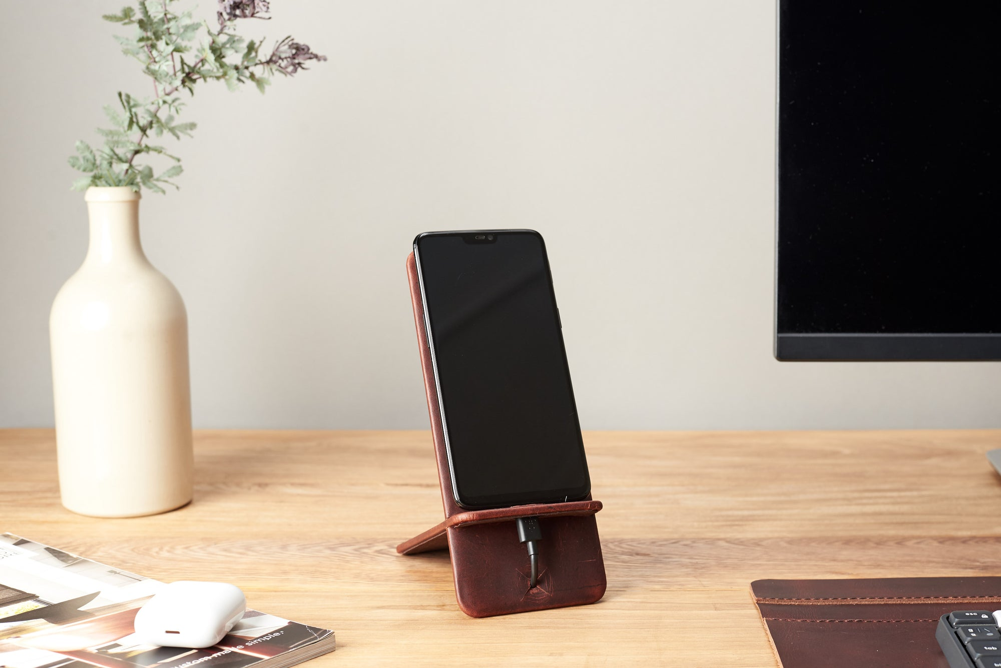 Cover. Leather Phone Stand Holder Distressed Cognac by Capra Leather