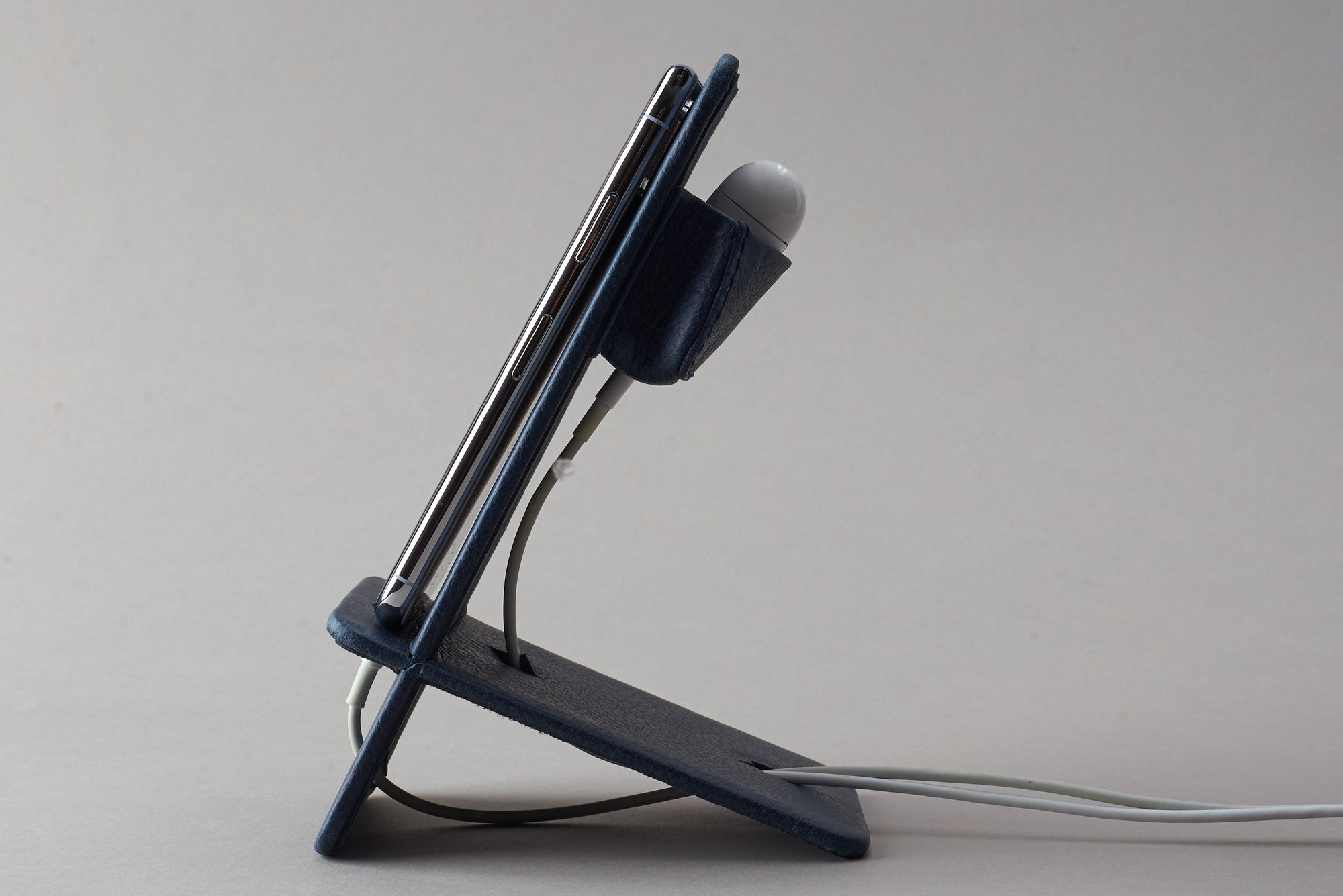 Cover. Leather Phone Stand Holder Navy by Capra Leather