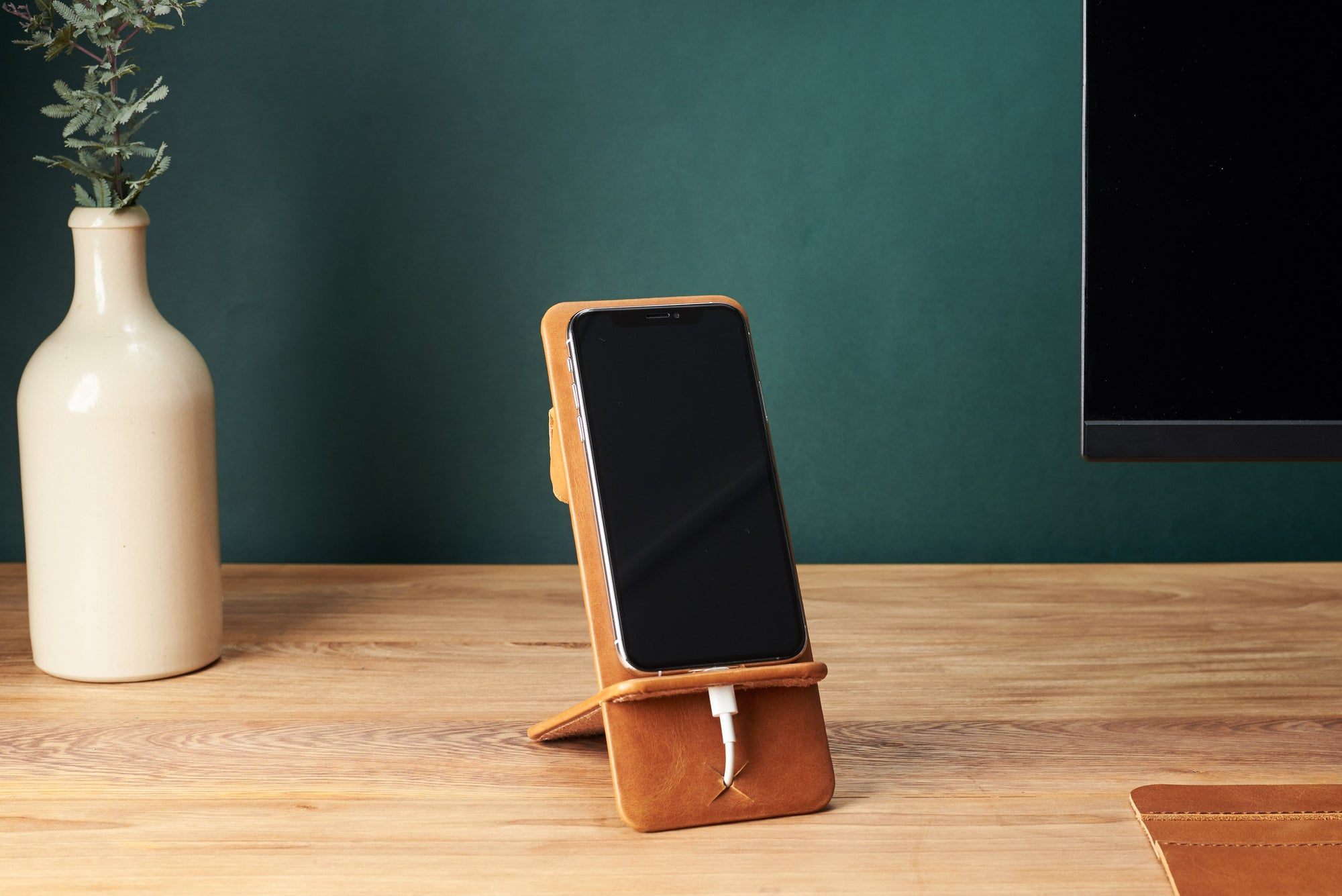 Cover. Leather Phone Stand Holder Tan by Capra Leather