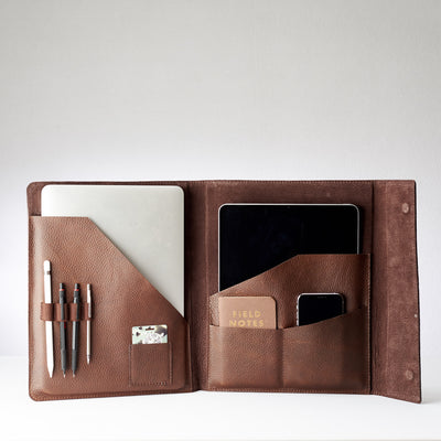 Suede interior. Brown laptop tablet portfolio. Business document organizer for men.