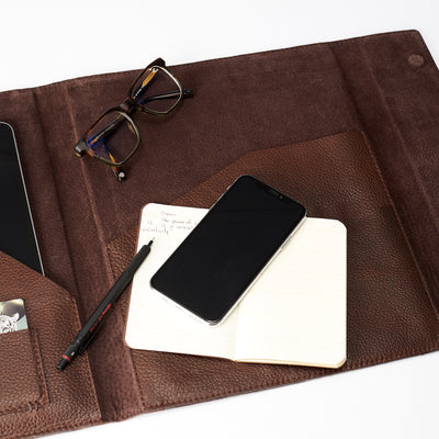 Style inside view. Brown laptop tablet portfolio. Business document organizer for men.