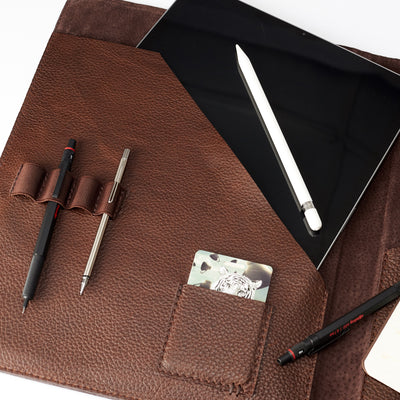 Card pocket detail. Brown laptop tablet tablet portfolio. Business document organizer for men.