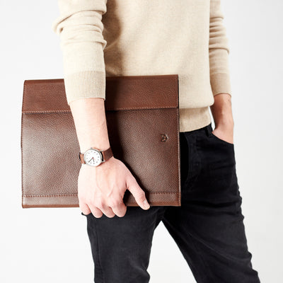 Style carry portfolio. Brown laptop tablet portfolio. Business document organizer for men.