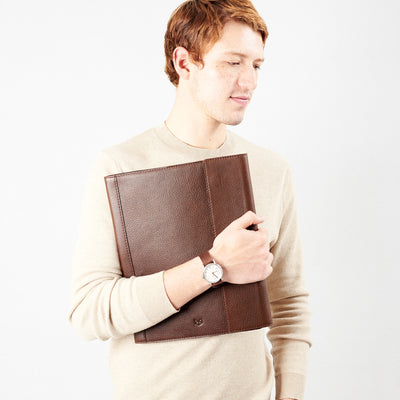 Style front view carry. Brown laptop tablet portfolio. Business document organizer for men.