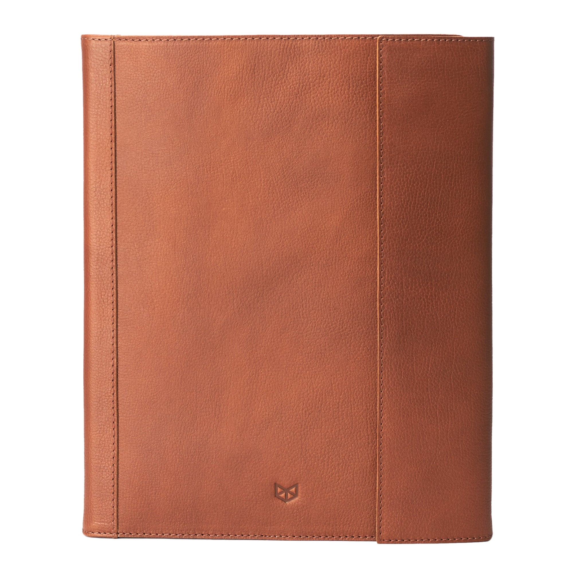 Portfolio front view. Tan laptop tablet portfolio. Business document organizer for men.
