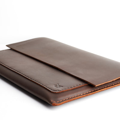 Brown hand stitched sleeve. Mens leather Macbook  Pro 15 inch 13 inch case. Mens gifts.