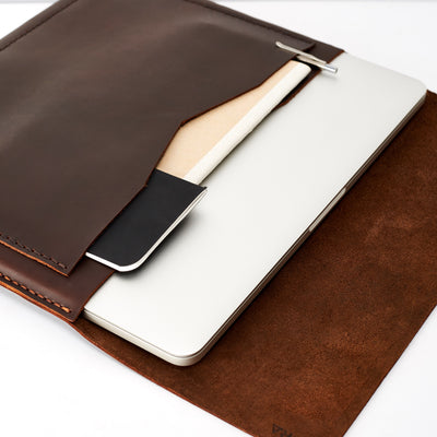 Style photo. Interior pockets. Macbook leather case. Custom leather gifts for men