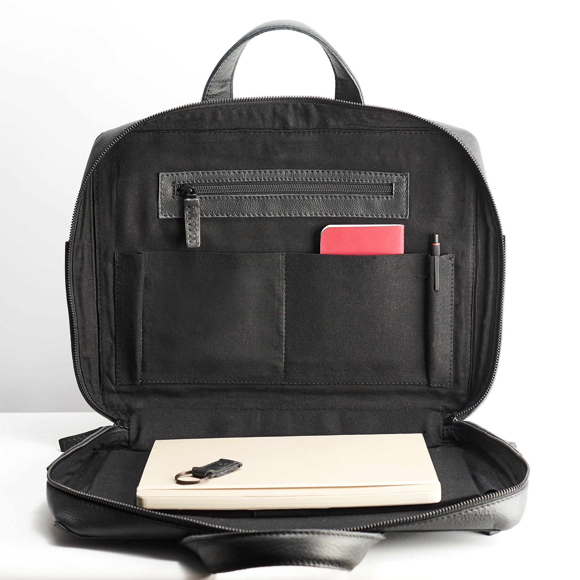 Soft leather men s briefcase. Linen interior. Mens custom leather black  briefcase 927a29d2eec69