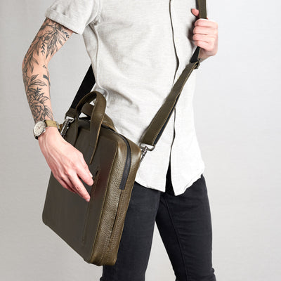 Shoulder strap in use. Roko briefcase style picture.