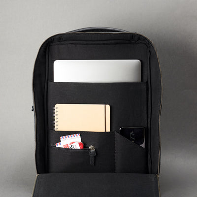 Interior of slim tech backpack. Laptop and cellphone organization for everyday use.