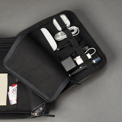 Discreet tech essentials organizer opened. Tech laptop bag by Capra Leather.