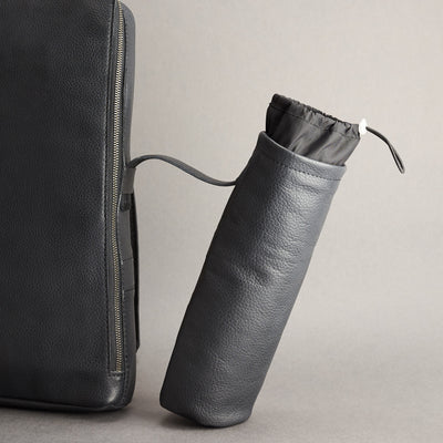 Detachable pouch detail. Waterproof optional accessory made by Capra Leather.