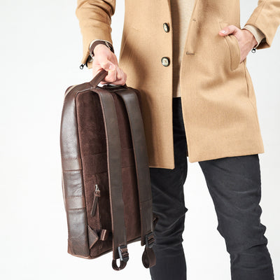 Style handle holding slim backpack in the back in dark brown leather. Organization laptop backpack for men by Capra Leather.