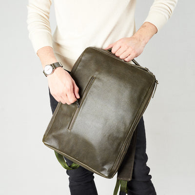 Style handle front pocket detail green leather bag. Organization laptop backpack for men by Capra Leather.