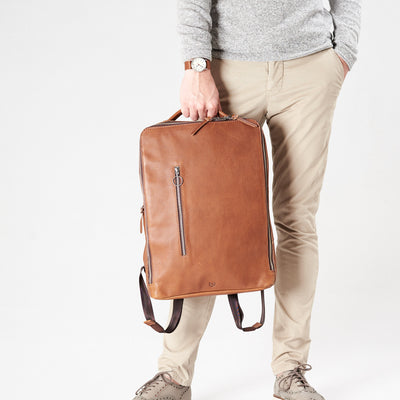 Style handle holding slim backpack in tan leather. Organization laptop backpack for men by Capra Leather.