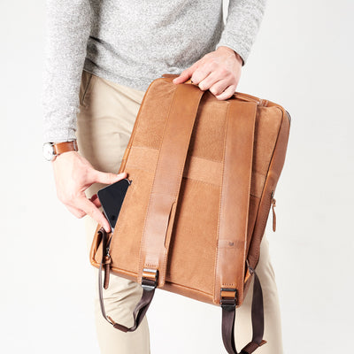 Style handle cellphone hidden pocket detail tan leather bag. Organization laptop backpack for men by Capra Leather.
