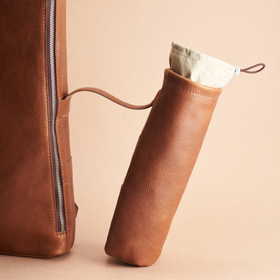 Detachable pouch for the modern slim tech backpack in tan leather. Waterproof optional accessory made by Capra Leather.