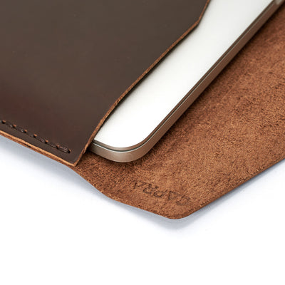 Soft interior detail. Dark brown Macbook Pro Touch Bar handmade leather case. Full grain leather mens sleeve. Custom folio