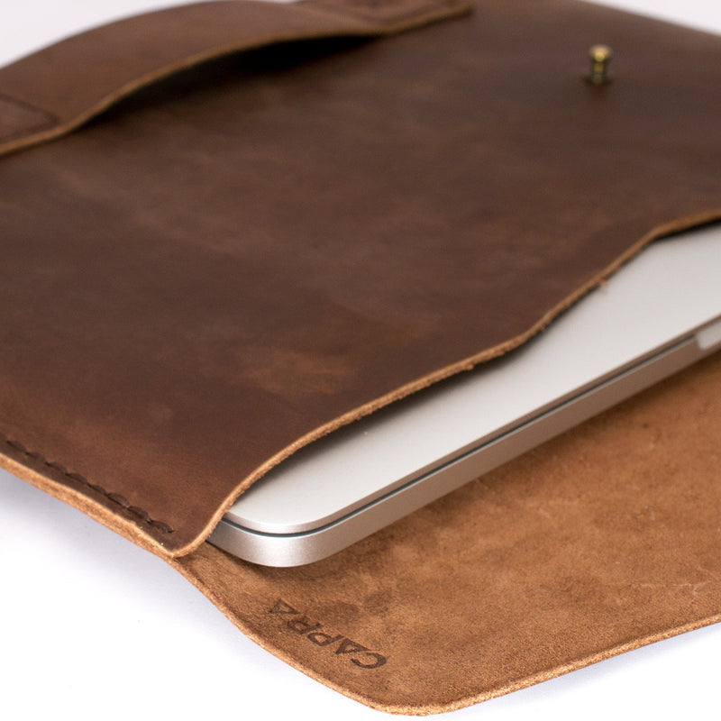 Custom monogram. Macbook case, Mens dark brown leather macbook sleeve, Laptop leather accessory, Macbook leather skin,