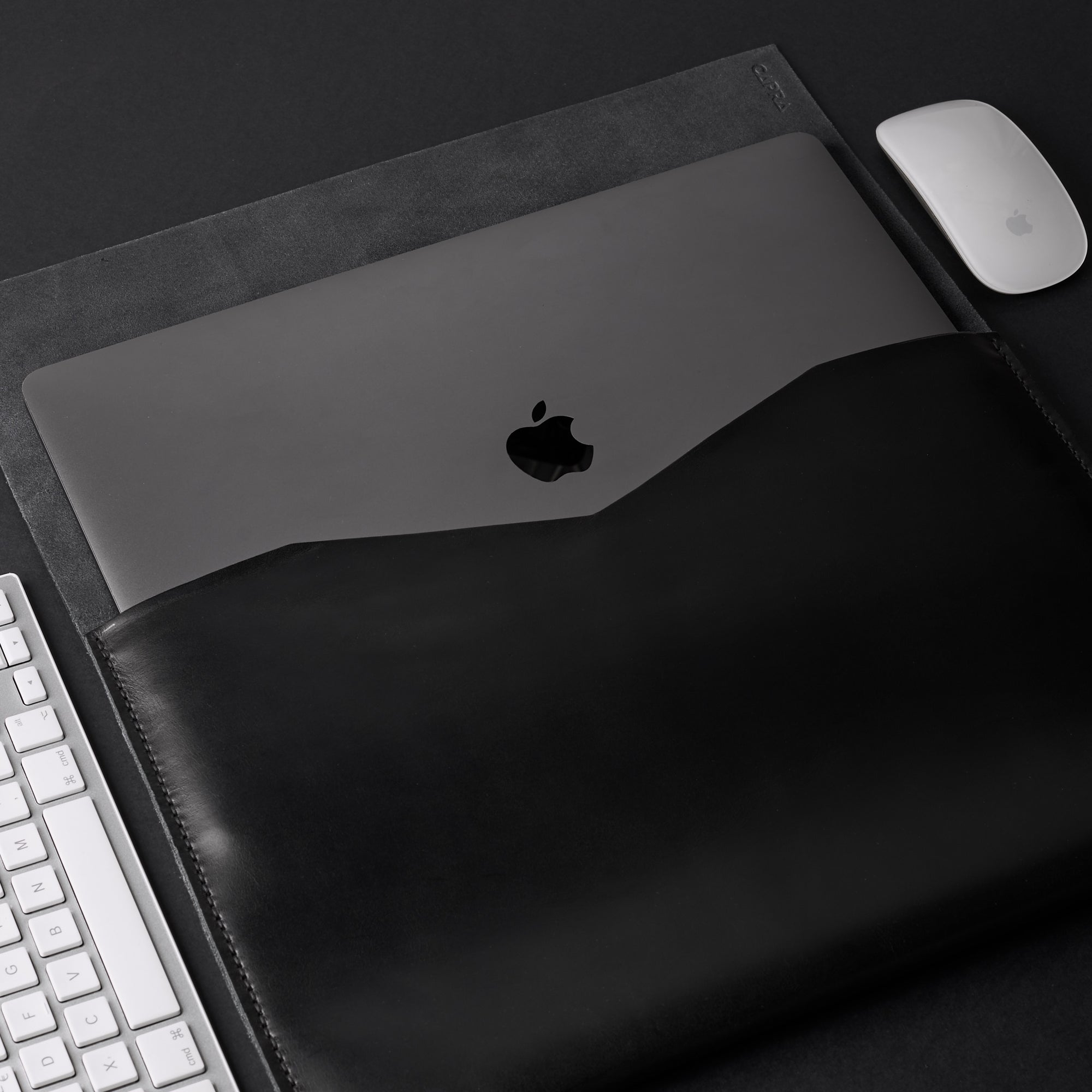 Cover. Black Leather MacBook Case. MacBook Sleeve by Capra Leather