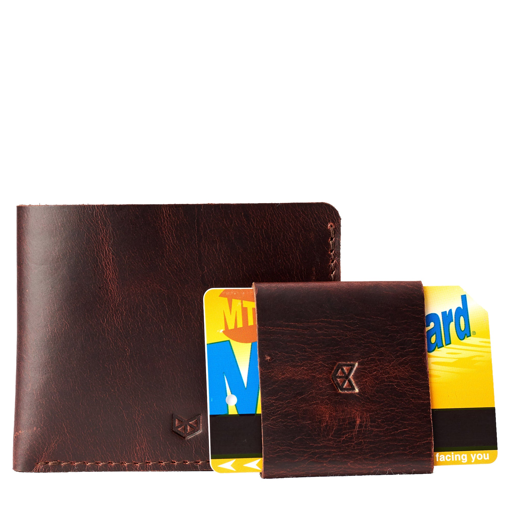 Wallet kit. Leather coñac slim wallet gifts for men handmade accessories. minimalist full grain leather thin wallet. Made by Capra Leather.