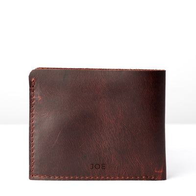 Engraving monogram . Leather coñac slim wallet gifts for men handmade accessories. minimalist full grain leather thin wallet. Made by Capra Leather.